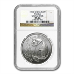 1993 Silver Chinese Pandas 1 oz - MS-66 NGC - (Small Date)