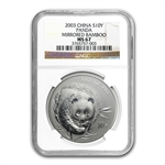 2003 Silver Chinese Panda 1 oz - MS-67 NGC (Mirrored Bamboo)