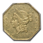 1853 BG-530 Liberty Octagonal One Dollar Gold AU-58 PCGS