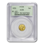 1853 BG-421 Liberty Round 50 Cent Gold AU-58 PCGS