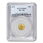 1875 BG-784 Indian Octagonal 25 Cent Gold MS-63 PCGS
