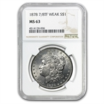 1878 Morgan Dollar - 7/8 Tailfeathers Weak MS-63 NGC