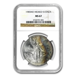 1985 1 oz Silver Mexican Libertad MS-67 NGC (Toned)
