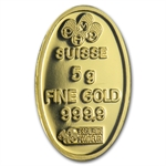5 gram Pamp Suisse Gold Fortuna Oval Bar .9999 Fine