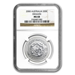 2000 1/2 oz Silver Lunar Year of the Dragon (Series I) MS-68 NGC