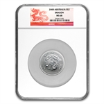 2000 2 oz Silver Lunar Year of the Dragon (Series I) MS-68 NGC