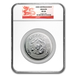 2000 10 oz Silver Lunar Year of the Dragon (Series I) MS-68 NGC