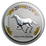 2002 1 kilo Silver Year of the Horse (SI)(Diamond Eye) NGC MS-68