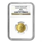 1993 Mexico 25 Pesos 1/4 oz Gold Hacha Ceremonial NGC MS-66