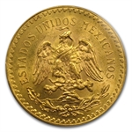 Mexico 1921 50 Peso Gold Coin MS-63 PCGS