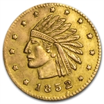1852 Indian Round California Gold Token Almost Uncirculated