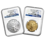 2013 1 oz Gold & Silver Eagle - MS-70 NGC - Early Releases Set