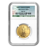 1986 1/2 oz Gold American Eagle MS-69 NGC First Year of Issue