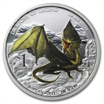 2013 1 oz Proof Silver Dragons of Legend - European Green Dragon