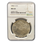 1882-S Morgan Dollar - MS-64 NGC