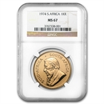 1974 1 oz Gold South African Krugerrand NGC MS-67