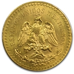 Mexico 1927 50 Pesos Gold Coin - MS-63 PCGS (Secure Plus!)