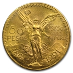 Mexico 1921 50 Pesos Gold Coin MS-64 PCGS (Secure Plus!)