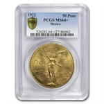 Mexico 1922 50 Pesos Gold Coin MS64+ PCGS (Secure Plus!)