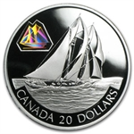 2001 1 oz Silver Canadian $20 The Bluenose Schooner
