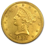 1891-CC/CC $10 Liberty Gold Eagle - AU-50 PCGS
