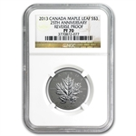 2013 Silver Canadian Maple Leaf 25th Anniv. 5-Coin Set PF-70 NGC