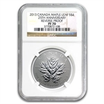 2013 1/2 oz Silver Canadian $4 Maple Leaf 25th Anniv. PF-70 NGC