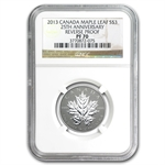 2013 1/4 oz Silver Canadian $3 Maple Leaf 25th Anniv. PF-70 NGC