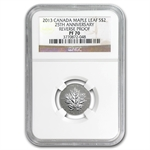2013 1/10 oz Silver Canadian $2 Maple Leaf 25th Anniv. PF-70 NGC