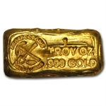 1 oz Gold Prospector's Gold & Gems Bar .999 Fine