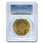 1876 $20 Gold Liberty Double Eagle - (OGH) - MS-61 PCGS