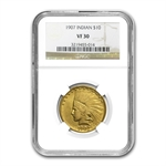1907 $10 Indian Gold Eagle - No Motto - VF-30 NGC
