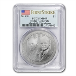 2013-W Five Star General $1 Silver Commemorative MS-69 PCGS (FS)