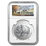 2013 1 oz Canadian Wildlife Series - Wood Bison MS-69 NGC (ER)