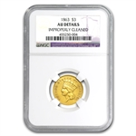 1863 $3 Gold Princess - AU Details NGC - (Cleaned)