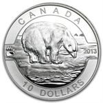 2013 1/2 oz Silver Canadian $10 Polar Bear (W/Box & COA)