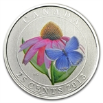 2013 Canadian $0.25 Coloured Coneflower & Butterfly