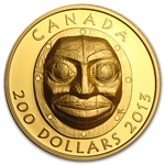 2013 1 oz Gold Canadian $200 Grandmother Moon Mask UHR