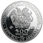2012 1 oz Silver Armenia 500 Drams Noah's Ark Coin MS-70 PCGS