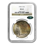 1904-O Morgan Dollar MS-63 NGC - Nice Toning - CAC