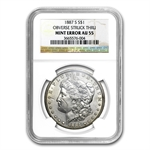 1887-S Morgan Dollar AU-55 NGC Obverse Struck Thru Mint Error