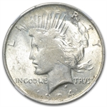 1924 Peace Dollar MS-61 NGC Struck Thru Grease Mint Error