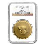 2007 2 oz Gold Year of the Pig Lunar Coin (Series I) NGC MS-69