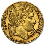 France 20 Francs Gold Ceres Head Avg Circ