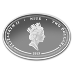 2013 1 oz Silver Niue Lunar Year of the Snake - Lucky Oval Coin