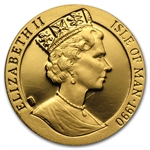 Isle of Man 1990 1/10 Crown 1/10 Oz Gold Proof Penny Black