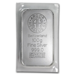 100 gram Argor-Heraeus Silver Bar (Pressed, Switzerland)
