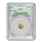 (1853) BG-204 Liberty Round 25 Cent Gold MS-62 PCGS