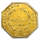 1854 BG-532 Liberty Octagonal One Dollar Gold AU-58 PCGS