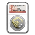 2012 Year of the Dragon - 1 oz Gilded Silver (SII) NGC MS-70